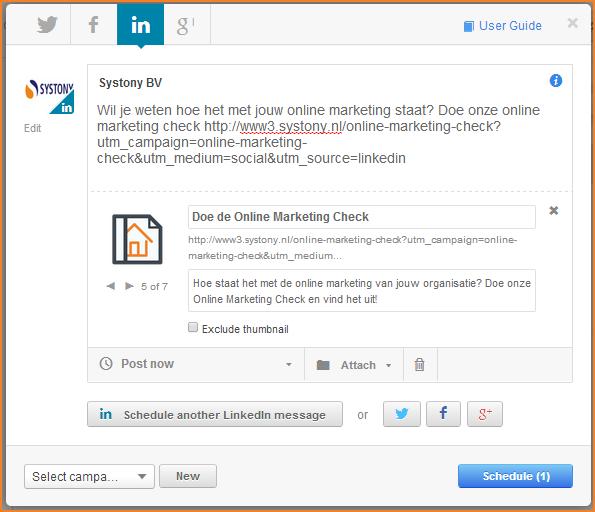 Publiceer je bericht met tracking URL