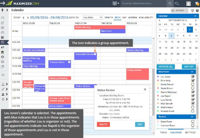 Maximizer CRM 2017 Kalender