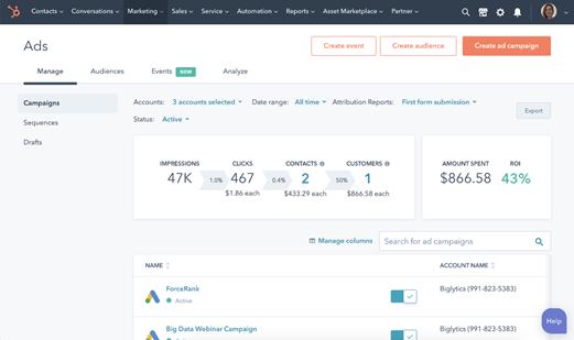 beheer je betaalde advertenties makkelijk in Hubspot Marketing hub